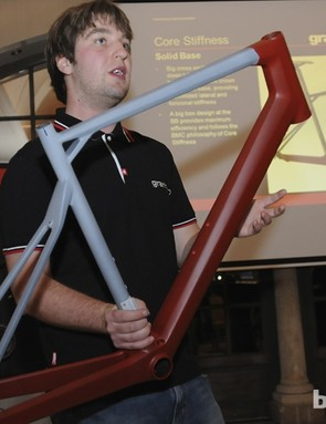 BMC frame engineer Jonas Müller explains the design philosophy behind the new GranFondo GF01 - the lower section in red is designed to be very rigid whereas all of the compliance is built into the grey section up top