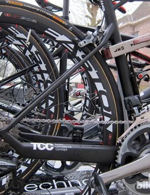 The radical looking rear end of BMC's new GranFondo GF01 race bikes for Paris-Roubaix