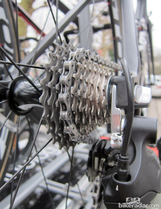 A tight-ratio cassette for Alessando Ballan (BMC) to tackle Paris-Roubaix's essentially flat parcours