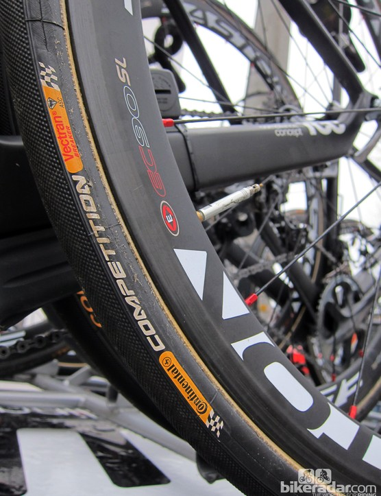 Fat Continental tubular tires and Easton carbon wheels for the BMC team for Paris-Roubaix