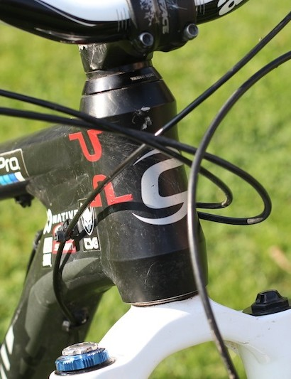 Cannondale's SI technology shows up in the head tube and its customized 1.5in integrated form
