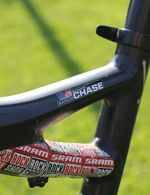 Looking at all the marks on the frame, you can see that Aaron Chase uses his bike a lot