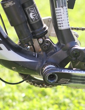 A look at the juncture between down tube, seat tube, chainstays and Fox Dyad 2 rear shock