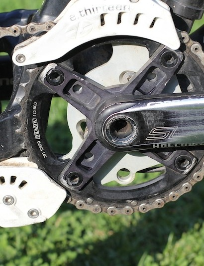 A closer look at the front portion of the drivetrain shows Chase has removed the LG1+ bash guard