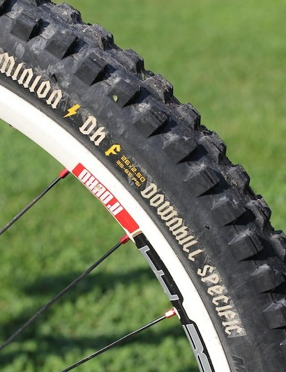 Maxxis Minion DH 2.5 tires are on the front and rear wheels