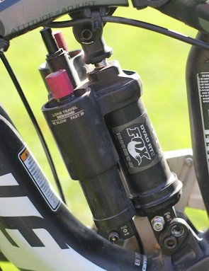 The Fox Dyad RT2 shock adjusts travel from 180mm to 110mm