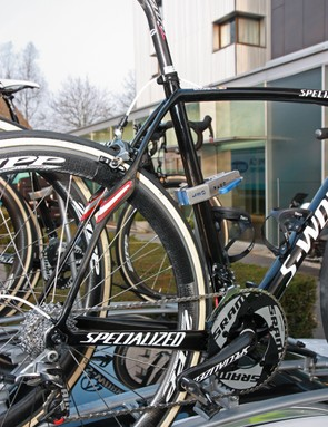 The now even more curvaceous stays of the new Specialized S-Works Roubaix (SL4)