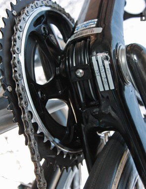 A close-up look at the asymmetrical chainstays on Omega Pharma-QuickStep's new Specialized S-Works Roubaix (SL4)