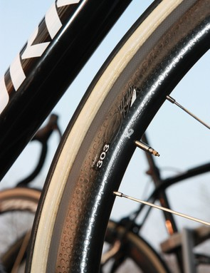 Tom Boonen (Omega Pharma-QuickStep) would once only race Paris-Roubaix on traditional aluminum box-section tubular wheels but Zipp's 303 rims have now proven themselves to be durable enough for the cobbles