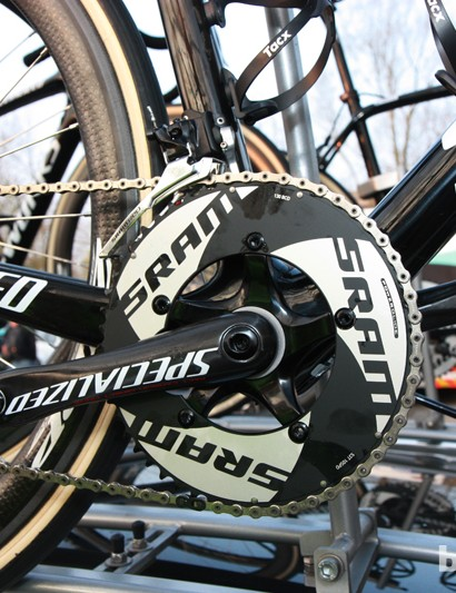 SRAM's stiffer TT-specific chainrings are installed on Tom Boonen's (Omega Pharma-QuickStep) new Specialized S-Works Roubaix (SL4)