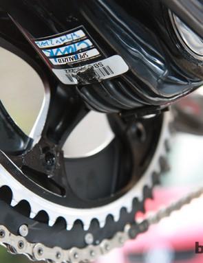 Flatlander 53/46t chainrings for Tom Boonen (Omega Pharma-QuickStep) in preparation for Paris-Roubaix