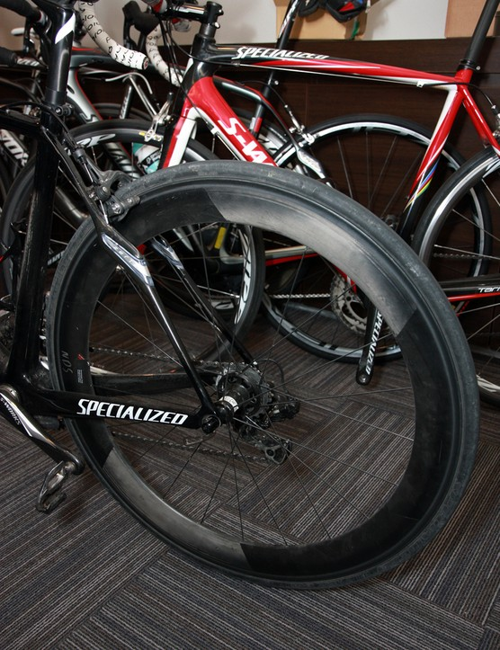 Specialized director of advanced development Chris D'Aluisio rolled in with not only the new Roubaix but also a new set of Specialized Roval all-carbon road clinchers