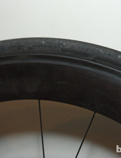 The upcoming Specialized Roval all-carbon clincher road rim measures approximately 60mm deep and is
