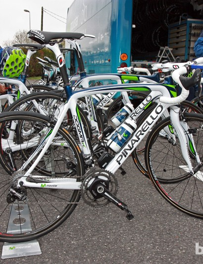 Movistar riders prepare for a recon ride pre-Paris-Roubaix aboard their Pinarello Dogma K machines