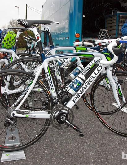 Movistar riders prepare for a recon ride pre-Paris-Roubaix aboard their Pinarello Dogma K machines