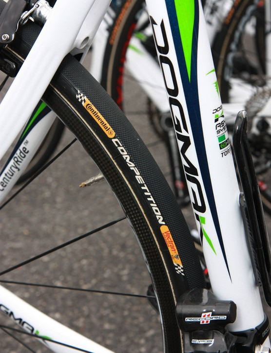 The fine tread on Movistar's Continental Competition tubulars lend a bit more grip on slick, dust-covered cobbles