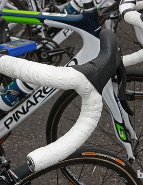 This Movistar Pinarello Dogma K features double-wrapped bars to help ease the sting of the cobbles