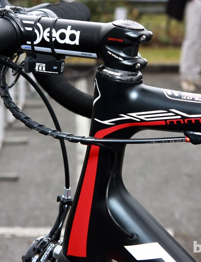 Neatly executed Campagnolo Record EPS wire and cable routing on this Lotto-Belisol Ridley Helium for Paris-Roubaix