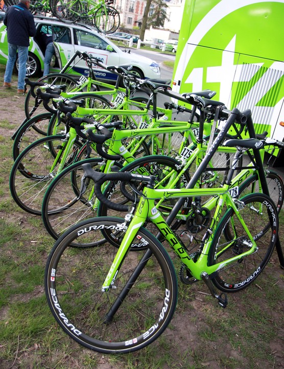 Argos-Shimano's specially modified Felt F1 bikes for Paris-Roubaix are easily identified by their bright green paint