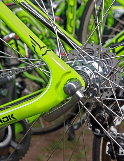 Different dropouts drop the rear end of the bike, effectively slackening the head and seat tube angles and lowering the bottom bracket