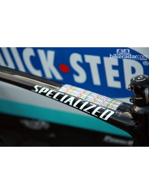 The broad top tube leaves plenty of room for Tom Boonen's (Omega Pharma-QuickStep) course notes.
