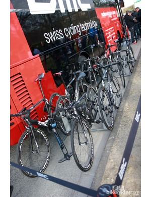 All of the BMC riders set off from Compiègne aboard the new BMC GranFondo GF01.