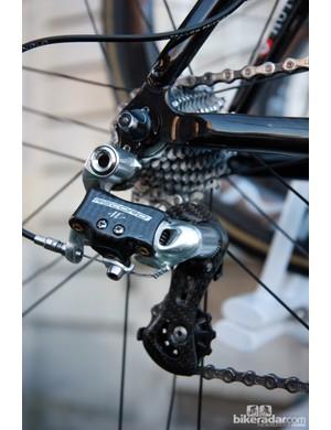Europcar's Colnago Cross Prestige bikes for Paris-Roubaix were built with previous-generation Campagnolo Record rear derailleurs.