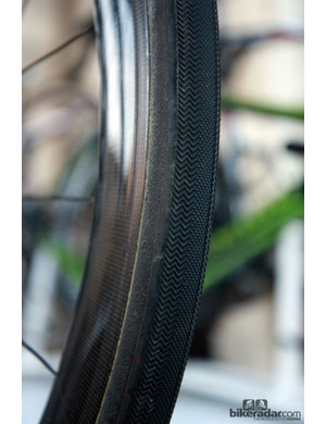 Europcar had two different tire types mounted, one with a finer file tread and these Dugast Paris-Roubaix tubulars with their more aggressive herringbone pattern.