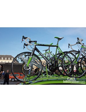 Liquigas-Cannondale had this disc-equipped Cannondale SuperX mounted atop the team car but it seemed like more of a publicity stunt than a proper spare bike for Paris-Roubaix. Don't forget that the UCI has apparently already banned the technology for the 2012 road season.