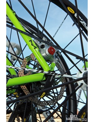 Post-mount tabs on the rear end of this Liquigas-Cannondale SuperX Disc.