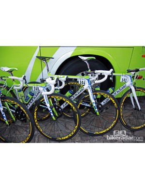 The Cannondale SuperSix Evo machines of Liquigas-Cannondale riders Peter Sagan, Ted King, and Daniel Oss.