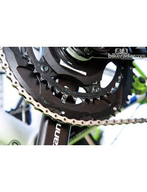 Standard 53/39T gearing on Liquigas-Cannondale's spare SuperX Disc suggests the bike was mostly there for show.