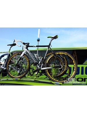 Liquigas-Cannondale did, however, have this rim brake-equipped Cannondale SuperX atop the team car, properly equipped with appropriate gearing and tires for Paris-Roubaix.