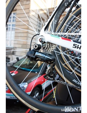 Gregory Rast (Radioshack-Nissan-Trek) normally rides Shimano Dura-Ace Di2 but relied on the mechanical version for Paris-Roubaix. This was on his spare bike.