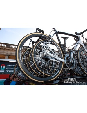 Bontrager Aeolus 3 carbon wheels and 27mm-wide FMB Paris-Roubaix tubulars for Radioshack-Nissan-Trek rider Gregory Rast.