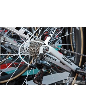 Nokon derailleur and brake housing for Radioshack-Nissan-Trek rider Gregory Rast. Team bikes also use non-replaceable derailleur hangers for more accurate shifting.