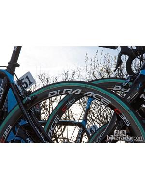 27mm-wide FMB Paris-Roubaix tubular tires were the hot setup at Paris-Roubaix.