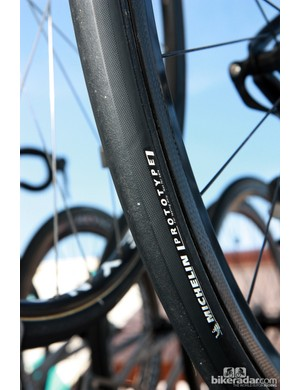 Ag2r-La Mondiale's Reynolds carbon rims were wrapped with prototype Michelin tubular tires.