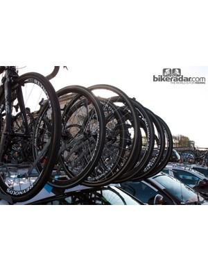 An army of Reynolds 32mm-deep carbon tubular wheels and just a few traditional aluminum hoops for Ag2r-La Mondiale.