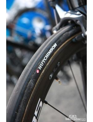 Fat Hutchinson tubular tires for FDJ-BigMat at Paris-Roubaix.