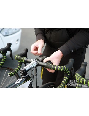 A few wraps of electrical tape go a long way. Most of the SRM computers we saw at Paris-Roubaix were secured in this fashion.
