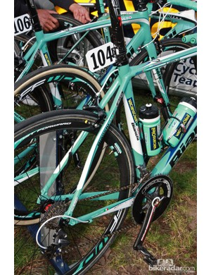 Simple s-bend stays on Vacansoleil-DCM's aluminum Bianchi Impulso machines for Paris-Roubaix.