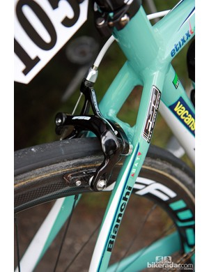 Mid-range FSA Gossamer brake calipers are fitted to Vacansoleil-DCM's Bianchi Impulso bikes at Paris-Roubaix.