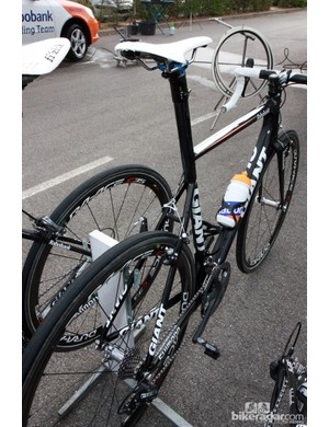 Lars Boom (Rabobank) says he selected the Giant TCX Advanced SL over the Defy Advanced SL because he could run bigger tires over the cobbles.