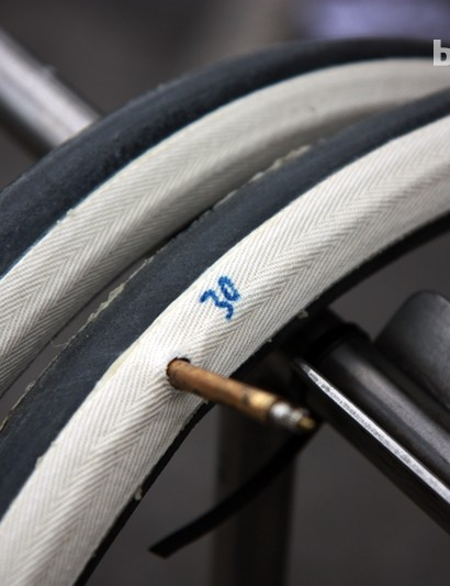 All of Rabobank's riders were using 27mm-wide tubulars at Paris-Roubaix, save for Lars Boom who went with giant 30mm-rubber.