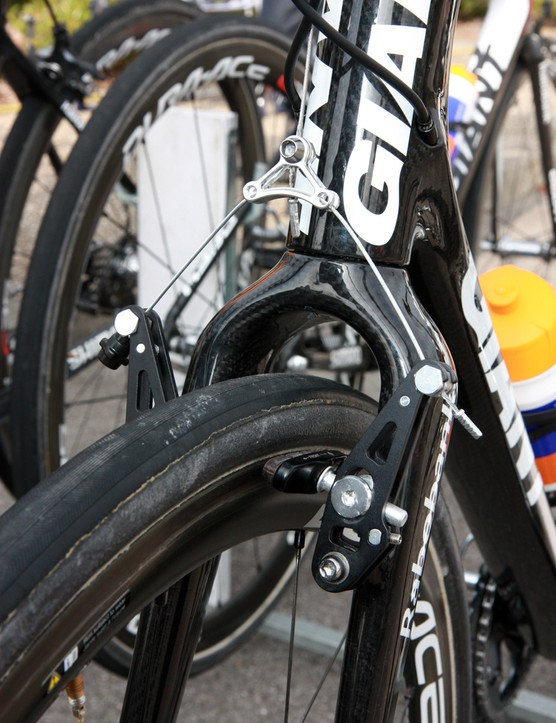 Giant has these aluminum cantilever brakes machined just for the Rabobank team. Lars Boom has his set up rather upright.
