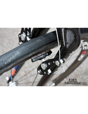 Lars Boom (Rabobank) used different brake pads front to rear.