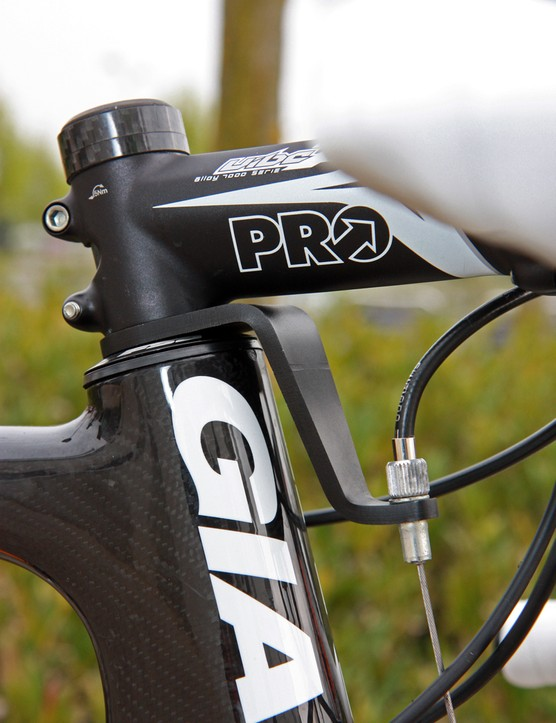 This simple front brake cable hanger adds minimal stack height.