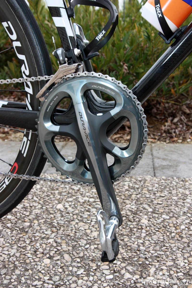 175mm-long Shimano Dura-Ace crankarms with 53/44T chainrings for Rabobank rider Lars Boom.