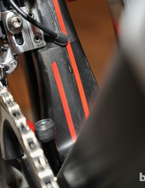 The BB86 press-fit bottom bracket shell allows for a very wide down tube and seat tube on the new BMC GranFondo GF01